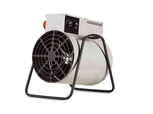 small industrial electric heater on white background